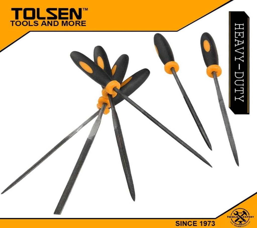 TOLSEN 6Pcs নিডল ফাইল সেট (3x100mm) TPR Handle 32046 বাংলাদেশ - 1022846