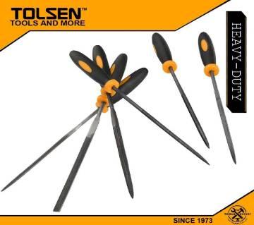 TOLSEN 6Pcs Needle File Set (3x100mm) TPR Handle 32046