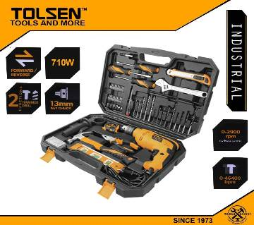 TOLSEN 95pcs Hand Tool Set with Hammer Drill (710W) Industrial Series 79685