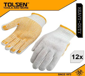 TOLSEN (12pairs) Garden Working Knitted Gloves 10(XL) Polyester and Cotton 45006