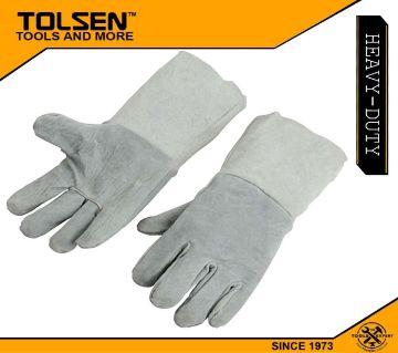 TOLSEN 01pair Cow Split Leather Welding Gloves Gray (Size 14) 45025