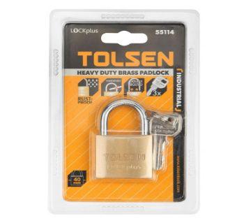 TOLSEN Industrial Grade Brass Padlock Rust Proof w/ 3 Keys (40mm 166g) Lock Plus 55114