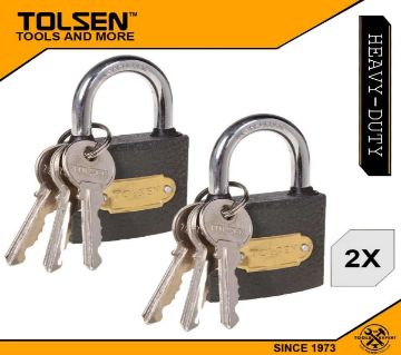 Tolsen (2pcs) Heavy Duty Iron Padlock with 3 Iron Keys (38mm 125g) 55134