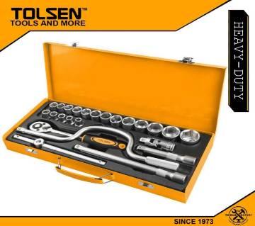 """TOLSEN 24pcs 1/2"""" Socket Set with Steel Case 15141"""