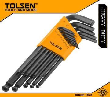 TOLSEN 13PCS Ball Point Long Arm Allen Hex Key Set (Inches) Black Finish 20090