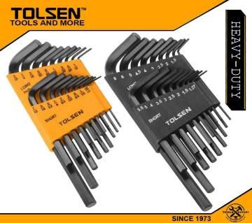 TOLSEN 36pcs Allen Hex Key Set (Inches & Metric) Black Finish 20094