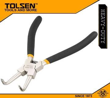 "TOLSEN Internal Circlip Pliers, Bent (180mm, 7"") Dipped Handle 10082"