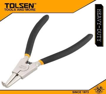 "TOLSEN External Circlip Pliers, Bent (180mm, 7"") Dipped Handle 10092"