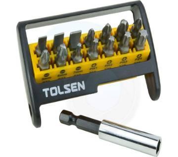 TOLSEN 15pcs Magnetic Screwdriver Bit Set (Phillips & Flat) For Drill 20365