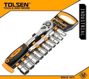 "TOLSEN 12Pcs Quick Release Reversible Ratchet Handle w/ Socket Set (1/2"" Drive) Industrial Series 15152"