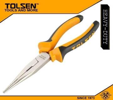 """TOLSEN Long Nose Pliers 8"""" (200mm) TPR Handle 10007"""