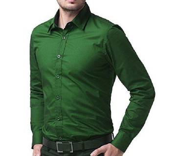 Bright Green Color Cotton Formal Shirt For Men