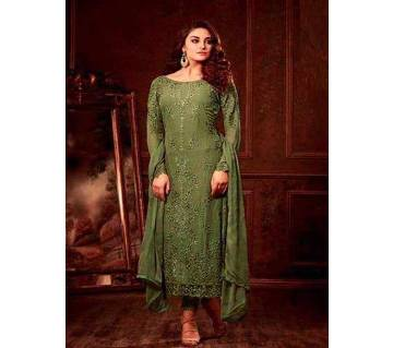 Georgette With Embroidery Three Piece
