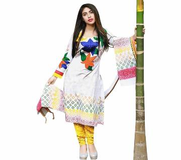 White Cotton with Embroidery Design Salwar Kamiz