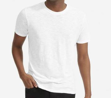 Plain White Cotton Half Sleeve T-Shirt For Summer Mans