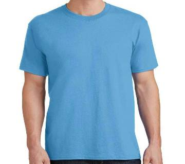 Plain Sky Blue Cotton Half Sleeve T-Shirt For Summer Mans