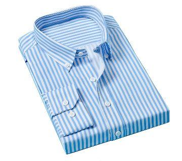 Fashionable Cotton Full Sleeve Shirt For Men - Sky Blue