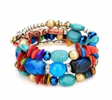 Girls Bracelet Natural Stone Beads Jewelry Multi Layer Charms Elastic Bracelets Bangles For Women Flower Pendant Bracelet Joyeria