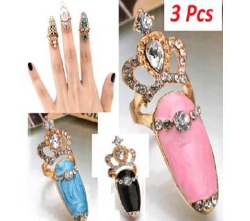 Girls Nail Rings -3 Pcs Set
