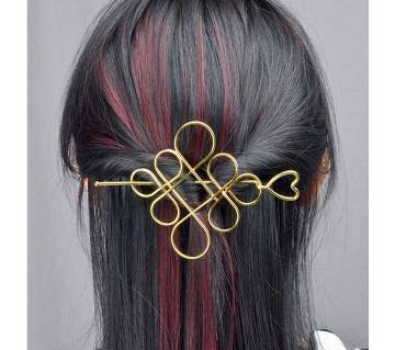 Classic Heart Hairpin Knot Hollow Flower-Gold