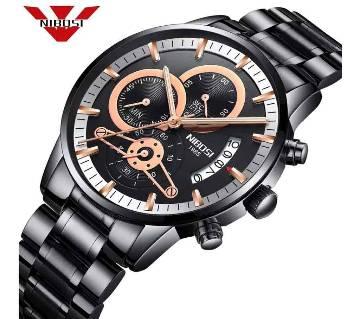 NIBOSI 2309-AC Mens Chronograph Quartz Wristwatch BLACK