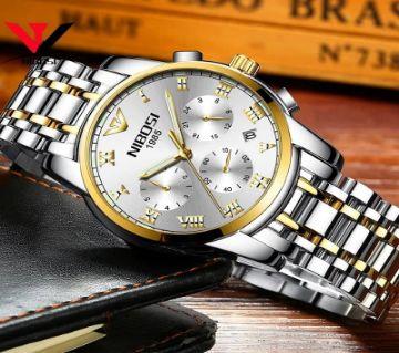 NIBOSI 2301 Mens Chronograph Quartz Wristwatch Silver With Gold