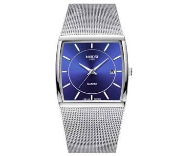 NIBOSI NI -2338 Square Quartz Waterproof Date Clock  Stainless Steel Wrist Watch For Men 2019