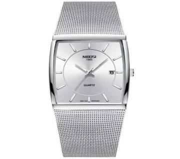NIBOSI NI -2338 Square Quartz Waterproof Date Clock Black Mesh Stainless Steel Wrist Watch For Men 2019