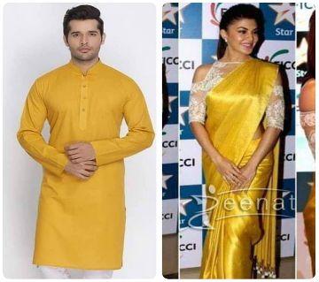 Soft Silk Saree and Cotton Panjabi Combo for Couple (Yellow)