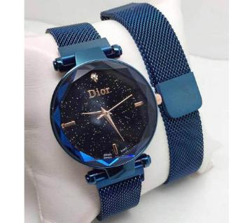 Dior Magnet Stainless Steel Wrist Watch for Women-blue