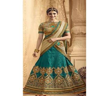 semi stitched Heavy Embroidery Georgette Lehenga  RF534-green