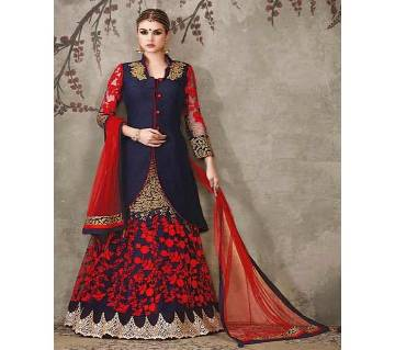 semi stitched Heavy Embroidery Georgette Lehenga  RF5835-blue