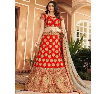 semi stitched Heavy Embroidery Georgette Lehenga RF3487-red