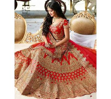 semi stitched Heavy Embroidery Georgette Lehenga RF8858-Golden