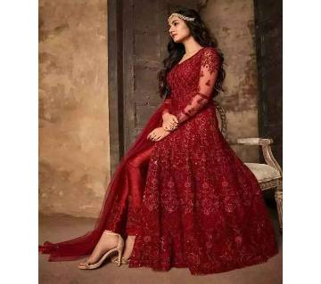 Georgette Heavy Embroidered Semi Stitched Anarkali Gown RF7689-RED