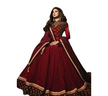 Georgette Heavy Embroidered Semi Stitched Anarkali Gown -maroon  RF2594