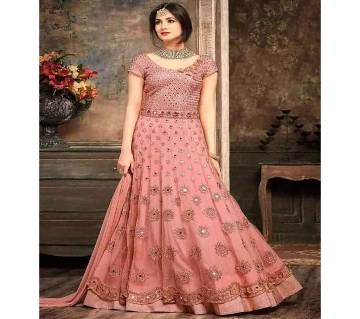 Georgette Heavy Embroidered Semi Stitched Anarkali Gown RF3698-Pink