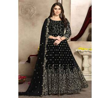 Semi stitched Georgette Gown  RF9398D-Black