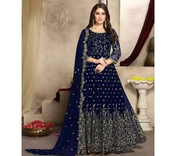 Semi stitched Georgette Gown  RF9398B-blue