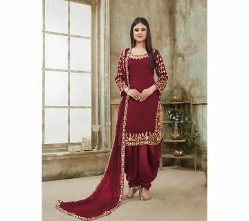 Georgette Unstitched Shalwar Kameez RF5599A 1-maroon