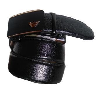 Leather Belts Solid Buckle With Automatic Ratchet -black