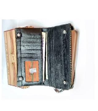 leather long wallet for men