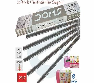 DOMS Zoom Ultimate Dark Pencils 10Pcs With Free 1 Eraser and 1 Sharpener