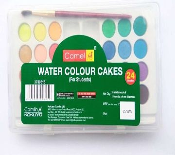Camel Water Color Cakes - 24 Shades with 1 Brush 24 colors