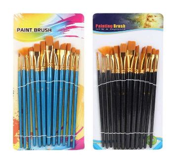 12pcs Nylon Hair Tongue Shaped Paint Brush Watercolor Oil Painting Art