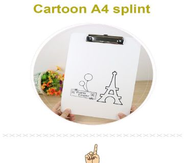A4 Plastic Clip Board Portable File Clipboard With Hook Cute Cartoon Pad For Gift Office Supplies/ Stationery