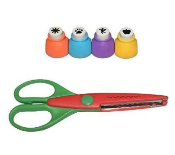 Mini Hole Punch Cutter with Craft Pattern Scissor - Multi Color (5 in 1)