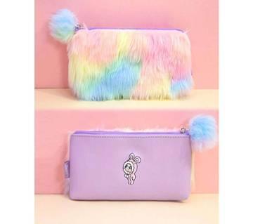 Rainbow Color Plush Fur Pencil Case Cartoon Pen Bag for Girls