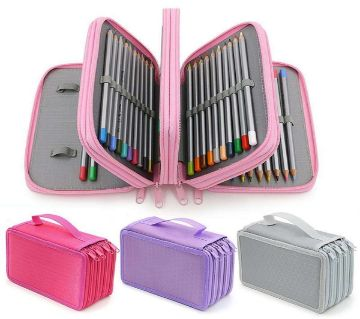 72 Holes 4 Layers Pencil Case School Students Marker Colored Pen Bag
