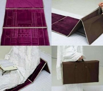 Muslim Prayer Mat Fold Backrest Janamaz 2 in 1